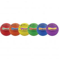 CHSSQBBSET - Basketball Set/6 Rhino Skin 8In Super Squeeze Asst in Balls