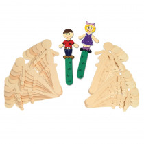 CK-364502 - People Shaped Wood Craft 36 Pcs Sticks 18 Each in Craft Sticks