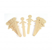 CK-3645 - People Shaped Wood Craft 16 Pcs Sticks 8 Each in Craft Sticks