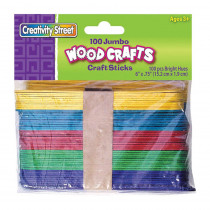 CK-367602 - Jumbo Craft Sticks 6 X 3/4 100/Pk Bright Hues in Craft Sticks