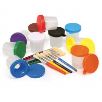 CK-5104 - Paint Cups & Brushes Set 10 Cups W/ 10 Color Coordinated Brushes in Paint Accessories