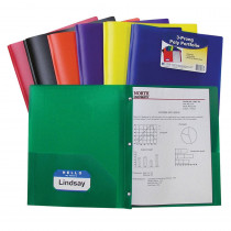 CLI33960 - Two Pocket Poly Portfolios 36/Box Assorted With Prongs in Folders