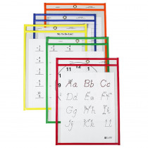 CLI40620 - Reusable Dry Erase Pockets 25/Box Assorted Primary 6 X 9 in Dry Erase Sheets