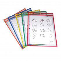 CLI40630 - Reusable Dry Erase Pockets 5/Box Assorted Primary 9 X 12 in Dry Erase Sheets
