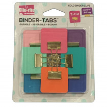 Binder Tabs, Assorted Gold Plated, Pack of 8 - CRT111 | Clip-Rite, Inc. | Clips
