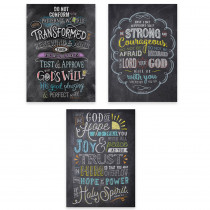 CTP2274 - 3Pk Posters Bible Verses In Chalk Rejoice Inspire U in General