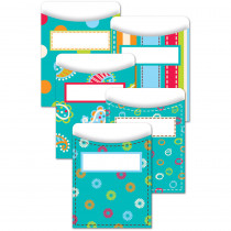 CTP6920 - Dots On Turquoise Library Pockets in Library Cards