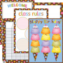 CTP7951 - Dots On Chocolate Classroom Essentials Chart Set in Classroom Theme