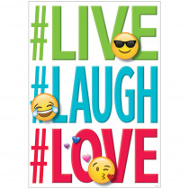 CTP8097 - Live Laugh Love Inspire U Poster Emoji Fun in Inspirational