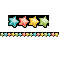 CTP8514 - Rainbow Mylar Balloon Stars Border in Border/trimmer