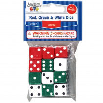 CTU7367 - Red Green & White Dot Dice 12/Pk in Dice