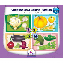 DEX1919 - Vegetables & Colors 4 In 1 Puzzles in Puzzles