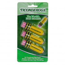 DIX38953 - Ticonderoga 3Pk Pencil Shaped Erasers in Erasers