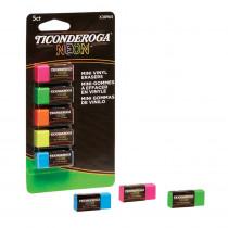 Mini Vinyl Erasers, Neon Assorted, 5 Count - DIX38965 | Dixon Ticonderoga Company | Erasers