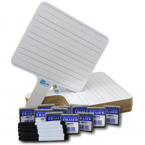 FLP18123 - Rectangle Lined 2 Side Paddle 12/Pk Dry Erase W/ Pens Erasers in Dry Erase Boards