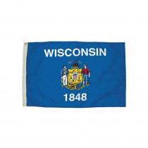 FZ-2482051 - 3X5 Nylon Wisconsin Flag Heading & Grommets in Flags