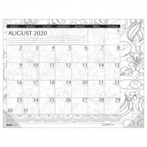 "Academic Monthly Desk Pad Calendar, Black & White Doodle, 12 Month August-July, 18-1/2 x 13"" - HOD18765 