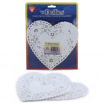 HYG91061 - Doilies 6 White Hearts 100/Pk in Doilies