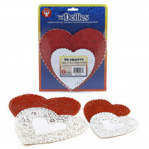 HYG94466 - Doilies White & Red Hearts 24 Each 4In 6In in Doilies