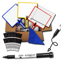 Customizable Handheld Whiteboards with Clear Dry Erase Sleeves & Markers, Class Set of 24 - KLS5439 | Kleenslate Concepts Llc. | Dry Erase Boards