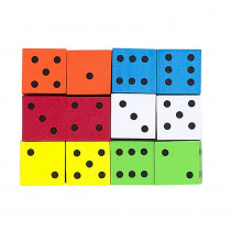 KOP17332 - 16Mm Foam Dice 12Pk Assorted Color Spot in Dice