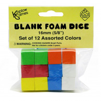 KOP17335 - 16Mm Foam Dice 12Pk Assorted Color Blank in Dice