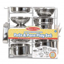 Deluxe Stainless Steel Pots & Pans Play Set - LCI30340 | Melissa & Doug | Homemaking