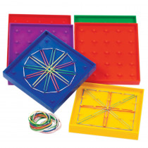 LER0425 - Geoboard Double-Sided Rainbow 6-Pk 5 X 5 Plastic 5 6 Colors in Geometry
