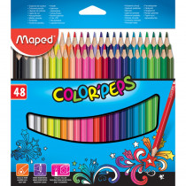 Color'Peps Triangular Colored Pencils, Assorted Colors, Pack of 48 - MAP832048ZV | Maped Helix Usa | Colored Pencils