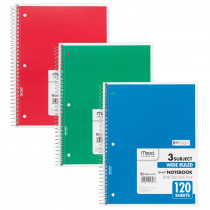 MEA05746 - Notebook Spiral 3 Subject 120 Ct 10 1/2 X 8 in Note Books & Pads