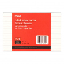 MEA63460 - Cards Index Ruled 4 X 6 50 Ct in Index Cards