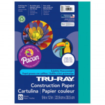 PAC103007 - Tru Ray 9 X 12 Turquoise 50 Sht Construction Paper in Construction Paper