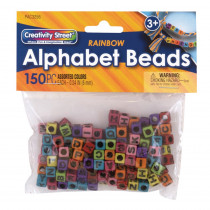 Alphabet Beads, Assorted Rainbow Colors, 6 mm, 150 Count - PACAC3256 | Dixon Ticonderoga Co - Pacon | Beads