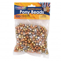 Pony Beads, Gold, Silver & Copper, 6 mm x 9 mm, 500 Count - PACAC3549 | Dixon Ticonderoga Co - Pacon | Beads