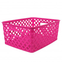 ROM74007 - Small Hot Pink Woven Basket in General