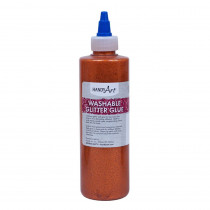 Washable Glitter Glue, 8 oz., Orange - RPC146015 | Rock Paint / Handy Art | Glitter