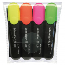 STW01500 - Schneider Job Highlighters Chisel Tip 4 Color Asstd Org Grn Pnk Ylw in Highlighters