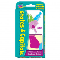 T-23014 - Pocket Flash Cards 56-Pk States And Capitals 3 X 5 Two-Sided Cards in States & Capitals