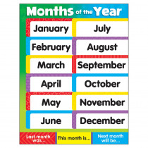 T-38204 - Learning Charts Months Of The Year Stars in Miscellaneous