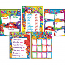 T-38964 - Classroom Basics Furry Friends Learning Chart Combo Pack in Classroom Theme