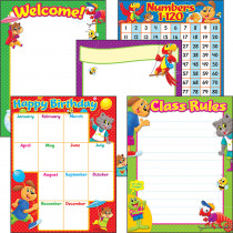 T-38965 - Playtime Pal Learning Chart Combo Pack Set Of 5 in Classroom Theme