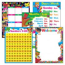 T-38981 - Blockstars Learning Charts Combo Pk Classroom Basics in Classroom Theme
