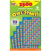 T-46925 - Owl Stars 2500Pk Super Spots Stickers in Stickers