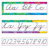 T-8053 - Bulletin Board Set Color Splash Cursive Zaner-Bloser in Alphabet Lines
