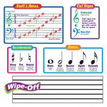T-8189 - Bulletin Board Set Music Symbols Includes 2 Wipe-Off Staffs in Classroom Theme