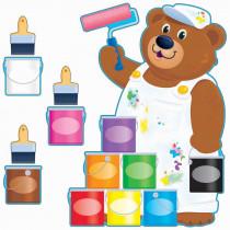 T-8209 - Painter Bear Job Chart Bulletin Board Set in Motivational