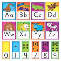 T-8265 - Awesome Animals Alphabet Cards Std Manuscript Bulletin Board Set in Language Arts