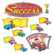 T-8343 - Monkey Mischief Racing To Success Bulletin Board Set in Classroom Theme
