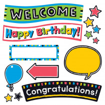 T-8393 - Bold Strokes Celebration Signs Bulletin Board Set Wipe Off in Classroom Theme