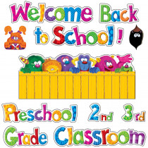 T-8735 - Furry Friends Welcome Phrases Mini Bulletin Board Set in Classroom Theme